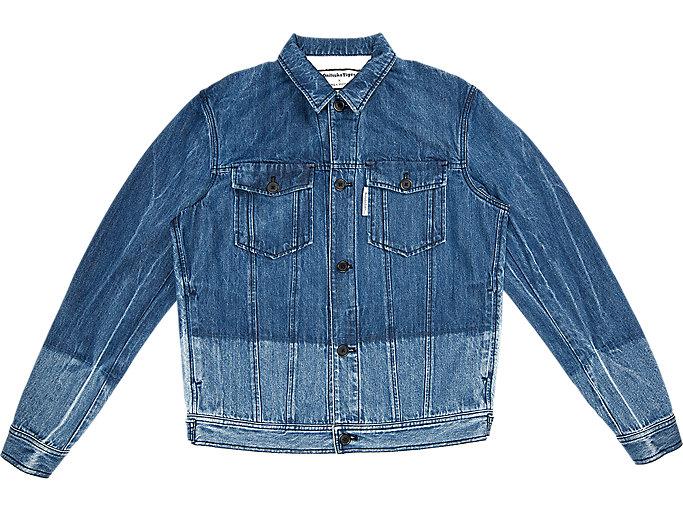 Front Top view of DENIM JACKET, INDIGO BLUE