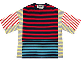 Front Top view of BLOCK TEE​, CHERRY TOMATO/PEACOAT