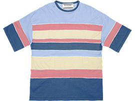 Front Top view of STRIPED TEE, SKY/PEACOAT