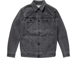 Front Top view of DENIM JACKET, DARK GREY