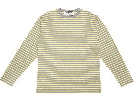 Front Top view of LS STRIPED TEE, STONE GREY/TAI-CHI YELLOW