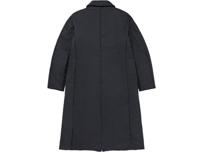 Back view of LONG PADDED COAT, PERFORMANCE BLACK