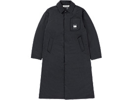 Front Top view of LONG PADDED COAT, PERFORMANCE BLACK