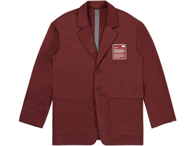 Front Top view of JACKET, BEET RED