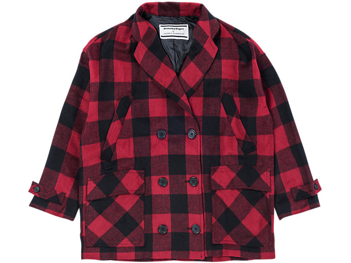Front Top view of WS FLANEL COAT, FIERY RED/PERFORMANCE BLACK