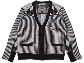 Front Top view of WS KNIT CARDIGAN, MID GREY/PERFORMANCE BLACK