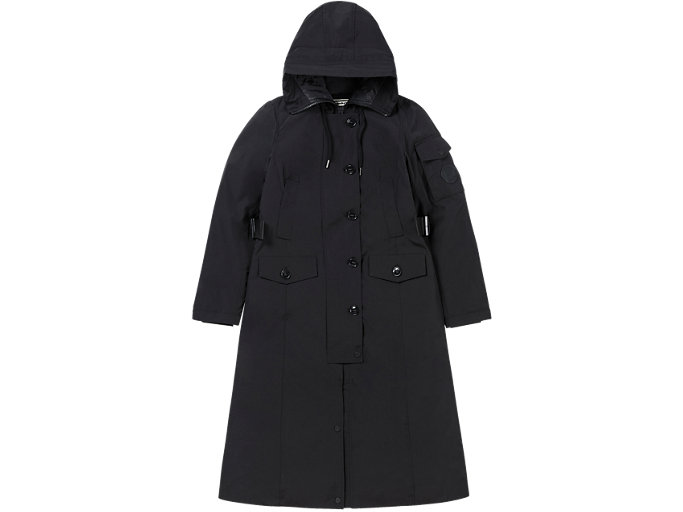 Front Top view of WS LONG PADDED COAT, PERFORMANCE BLACK