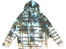 Front Top view of GRAPHIC HOODIE, PEACOAT