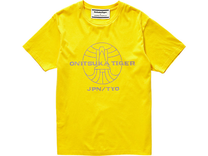 Front Top view of GRAPHIC TEE, TAI-CHI YELLOW