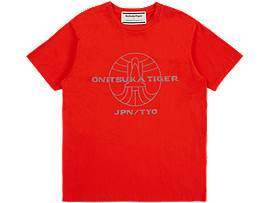 Front Top view of GRAPHIC TEE, CHERRY TOMATO