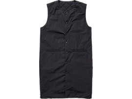 Front Top view of LONG VEST, PERFORMANCE BLACK