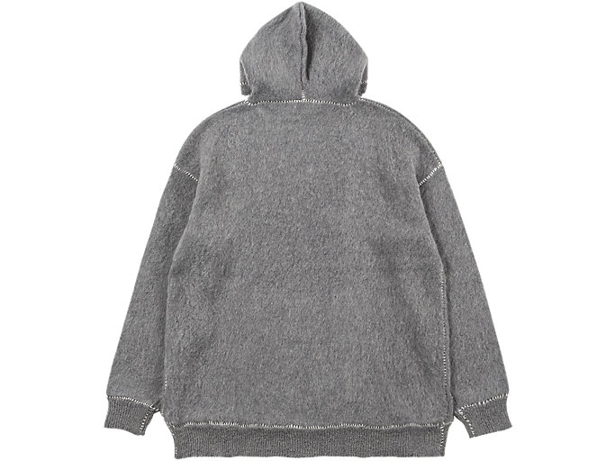 Back view of LONG KNIT HOODIE, MID GREY