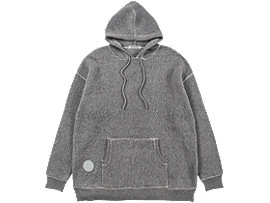 Front Top view of LONG KNIT HOODIE