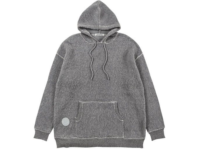Front Top view of LONG KNIT HOODIE, MID GREY