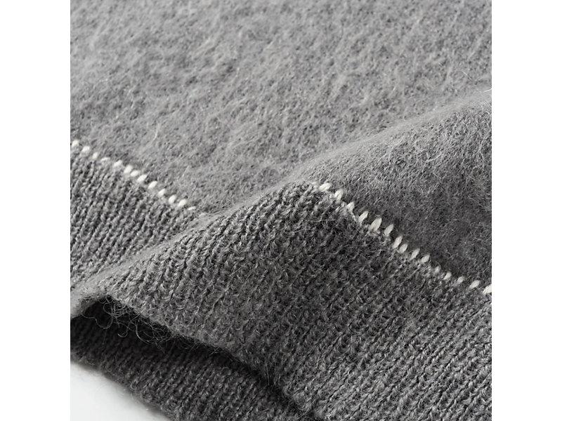 Long Knit Hoodie MID GREY 13 Z