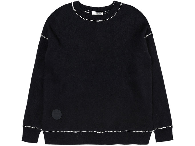 Front Top view of LONG KNIT, PERFORMANCE BLACK