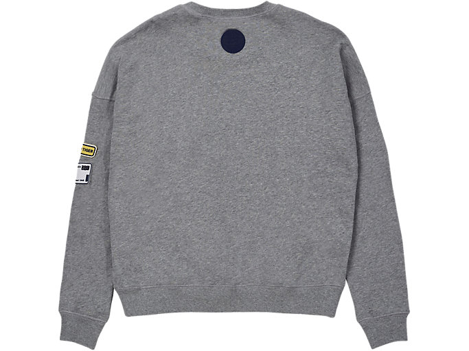 Back view of PATCH PULL-OVER, MID GREY