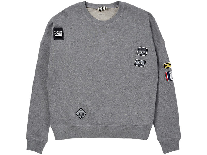Front Top view of PATCH PULL-OVER, MID GREY