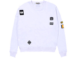 Front Top view of PATCH PULL-OVER, REAL WHITE