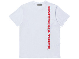 Front Top view of LOGO TEE, REAL WHITE/FLASH CORAL