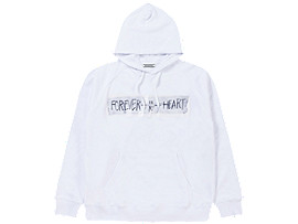 Front Top view of WASHED HOODIE, REAL WHITE