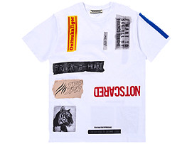 Front Top view of COLLAGE TEE, REAL WHITE