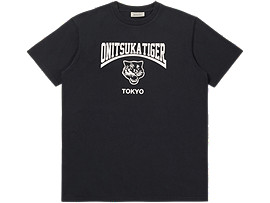 Front Top view of WASHED GRAPHIC TEE, PERFORMANCE BLACK