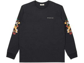 Front Top view of LS GRAPHIC TEE, PERFORMANCE BLACK