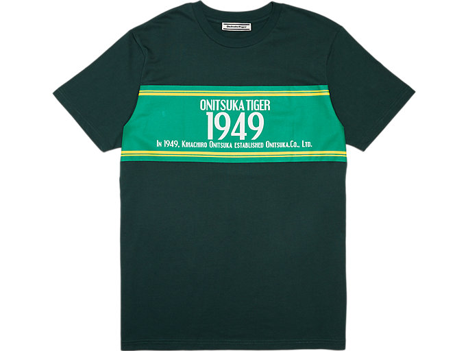 Front Top view of GRAPHIC TEE, MANTLE GREEN