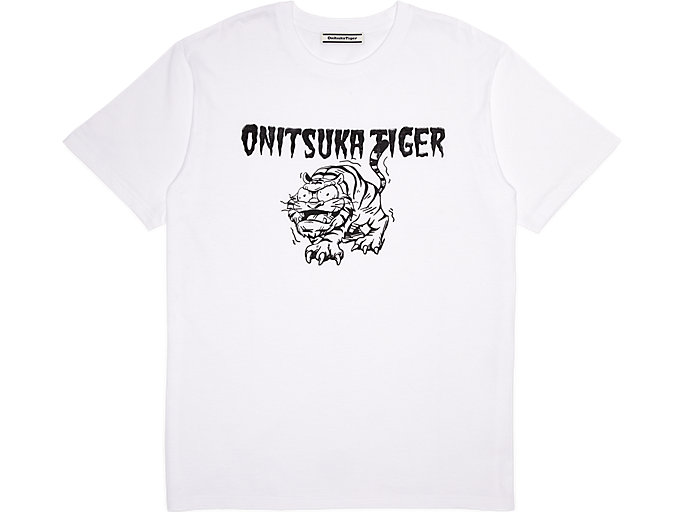 Front Top view of GRAPHIC TEE, REAL WHITE/PERFORMANCE BLACK