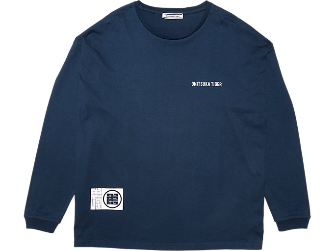 Front Top view of LS GRAPHIC TEE, PEACOAT