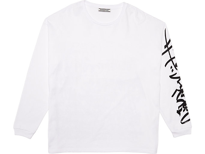 Front Top view of LS GRAPHIC TEE, REAL WHITE/PERFORMANCE BLACK