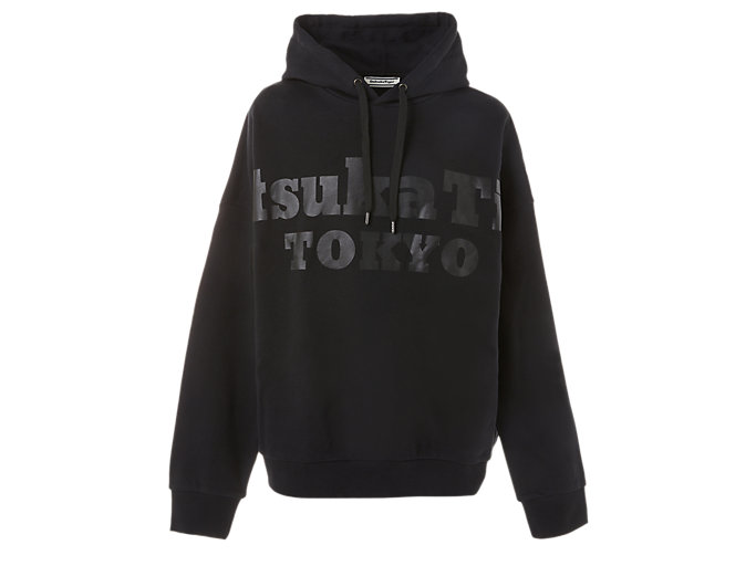 Front Top view of HOODIE, PERFORMANCE BLACK