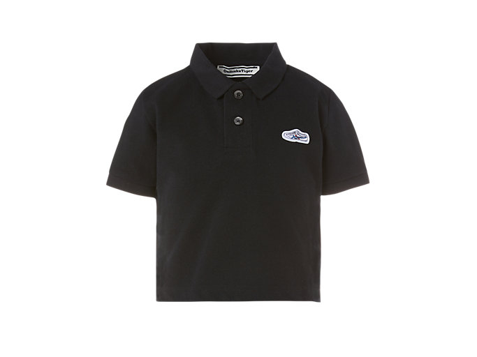 Front Top view of KIDS POLO SHIRT, PERFORMANCE BLACK