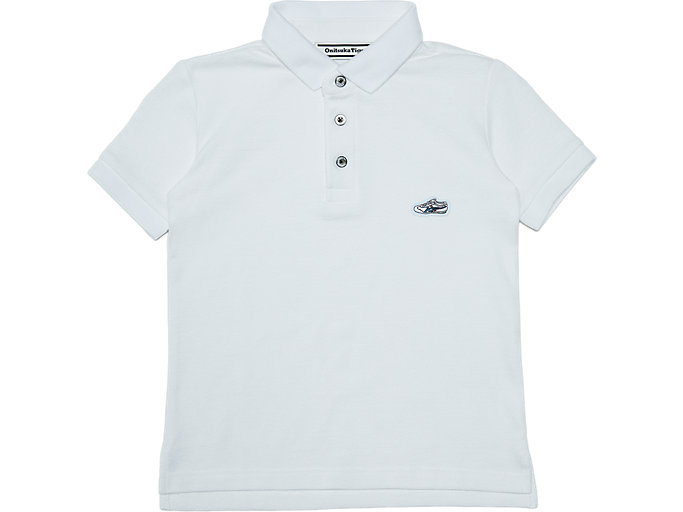 Front Top view of KIDS POLO SHIRT, REAL WHITE