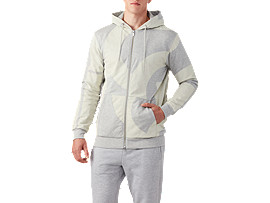 AOP Padded FZ Hoodie, MID GREY HEATHER