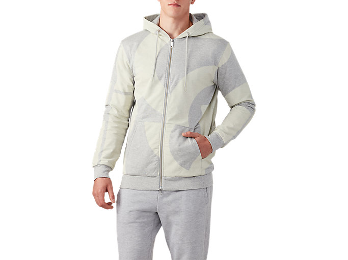 Front Top view of AOP Padded FZ Hoodie, MID GREY HEATHER