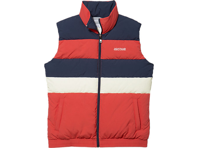 Front Top view of CB Down Vest, RED ALERT