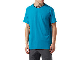 Front Top view of Logo Collar  SS Tee, TEAL BLUE