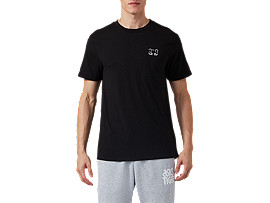 Front Top view of DT Pkt SS Tee, PERFORMANCE BLACK