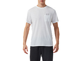 Front Top view of DT Pkt SS Tee, REAL WHITE