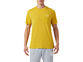 Front Top view of DT Pkt SS Tee, MUSTARD