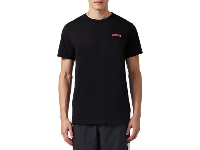 Front Top view of CB SS Tee, PERFORMANCE BLACK