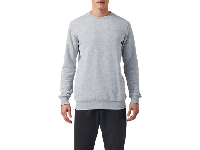 Front Top view of OP Crew Sweat, MID GREY HEATHER