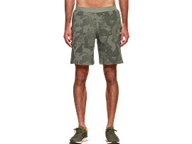 Front Top view of Padded Shorts AOP, LICHEN GREEN