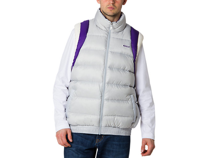 Front Top view of Down Vest, MID GREY