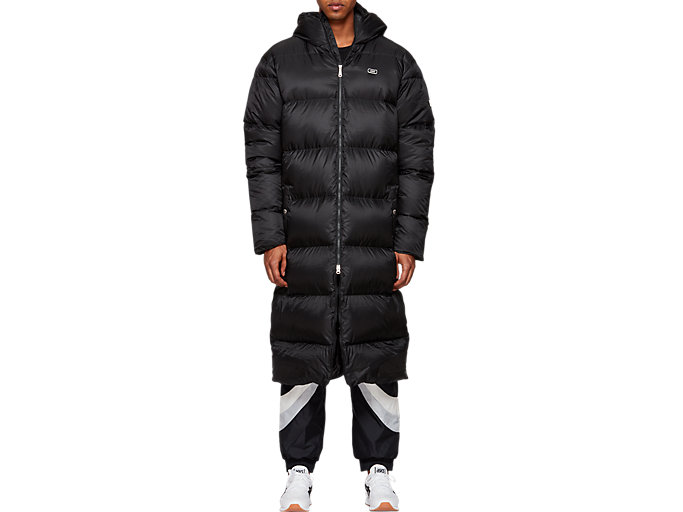 Front Top view of Down Long Coat, PERFORMANCE BLACK