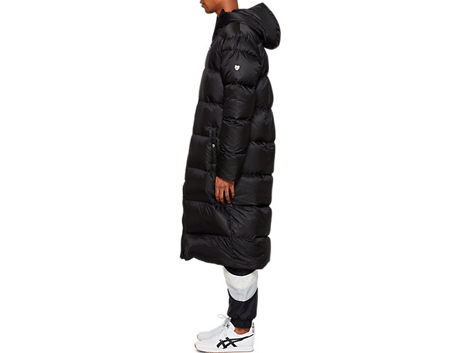 Side view of Down Long Coat, PERFORMANCE BLACK