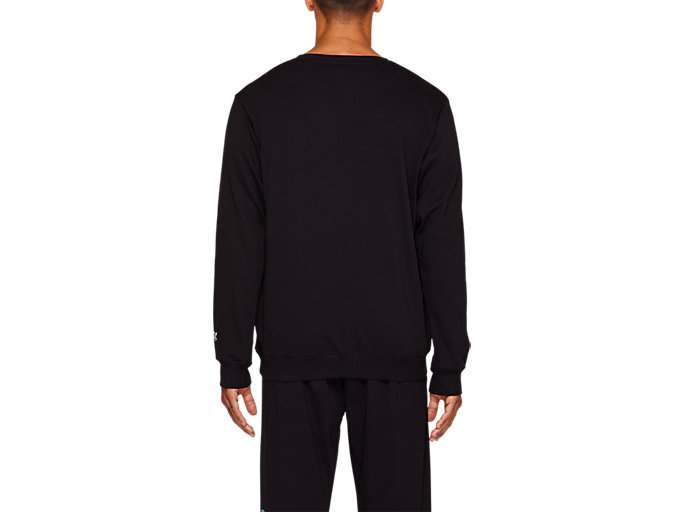 Back view of FT BL GRAPHIC LS CREW, PERFORMANCE BLACK