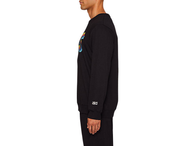 Side view of FT BL GRAPHIC LS CREW, PERFORMANCE BLACK